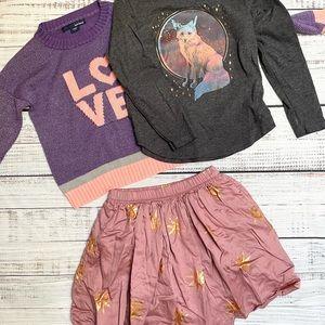 Girls Pink Skirt by Tea, coordinating tops, sz 6